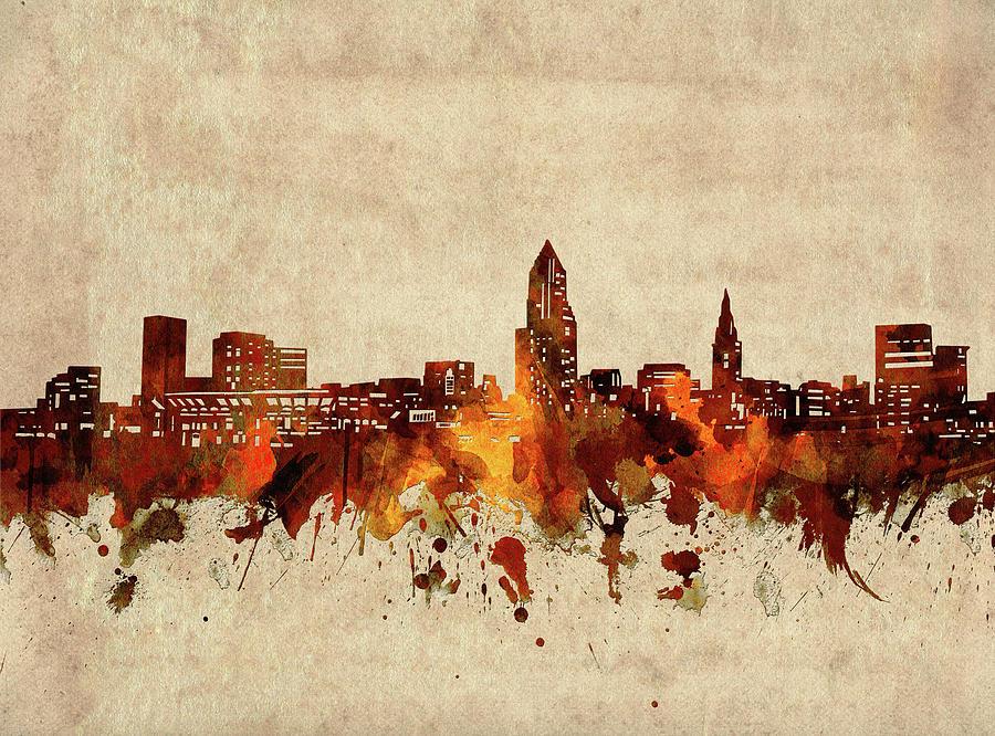 Cleveland Digital Art - Cleveland Skyline Sepia by Bekim M