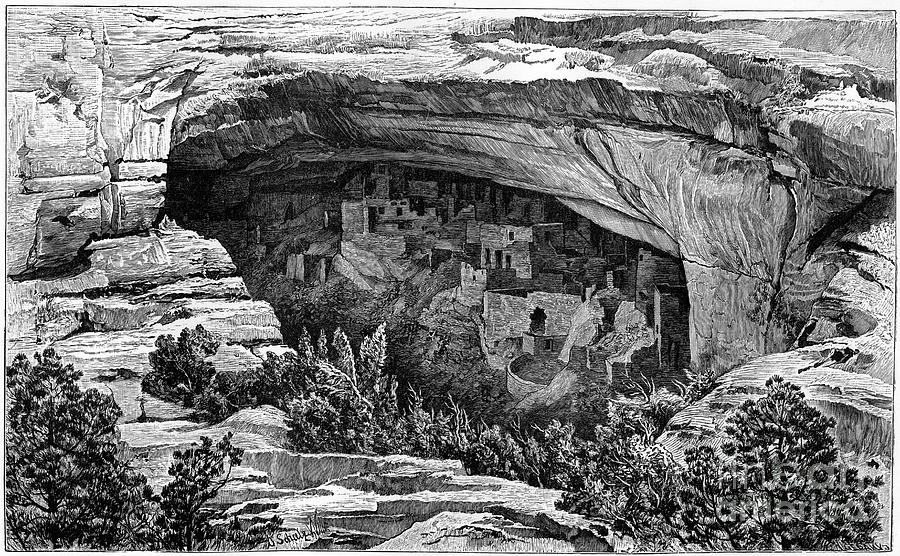 Cliff Palace In Cliff Palace Canyon Drawing by Print Collector