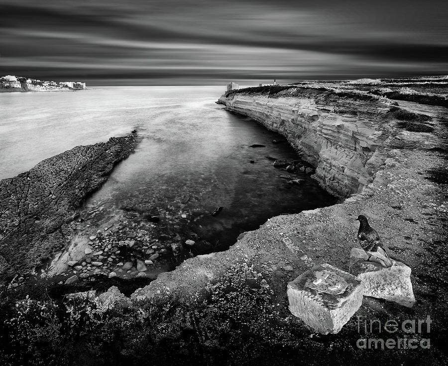 Cliffs and seascape in black and white long exposure by Stephan Grixti