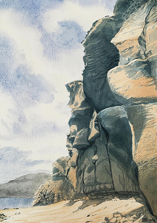 Arguineguin Painting - Cliffs by the sea in Arguineguin, Gran Canaria by Sami Matilainen