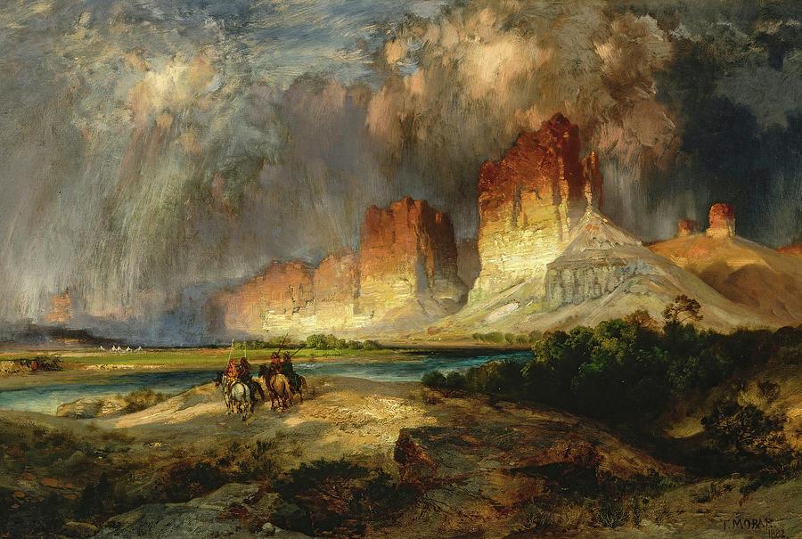 Thomas Moran Painting - Cliffs Of The Upper Colorado River, Wyoming Territory, 1882 by Thomas Moran