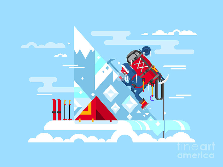Strength Digital Art - Climber Conquers The Summit. Mountain by Kit8.net