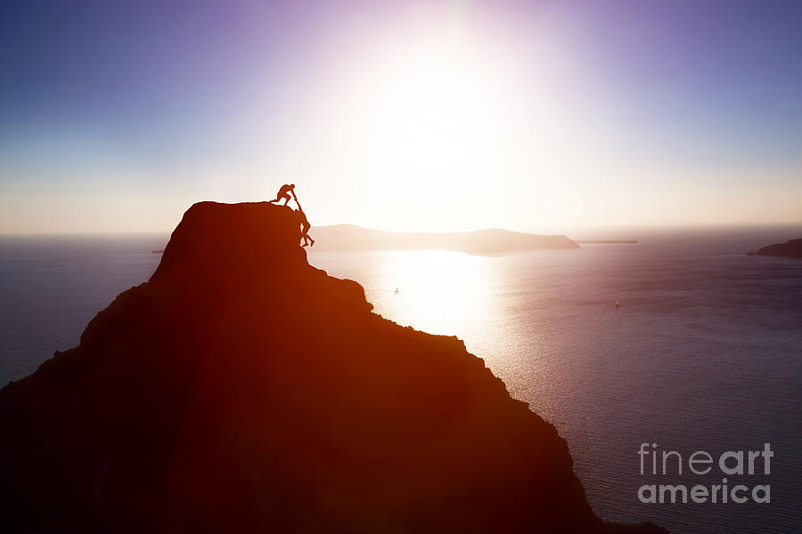 Leader Photograph - Climber Giving Hand And Helping His by Photocreo Michal Bednarek