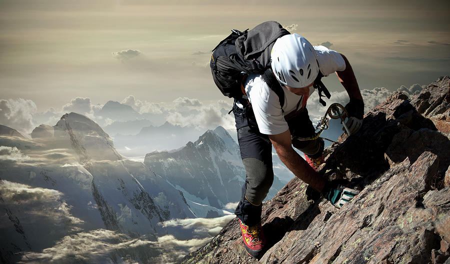 Climber On The Mount Rosa Massif Photograph by Buena Vista Images
