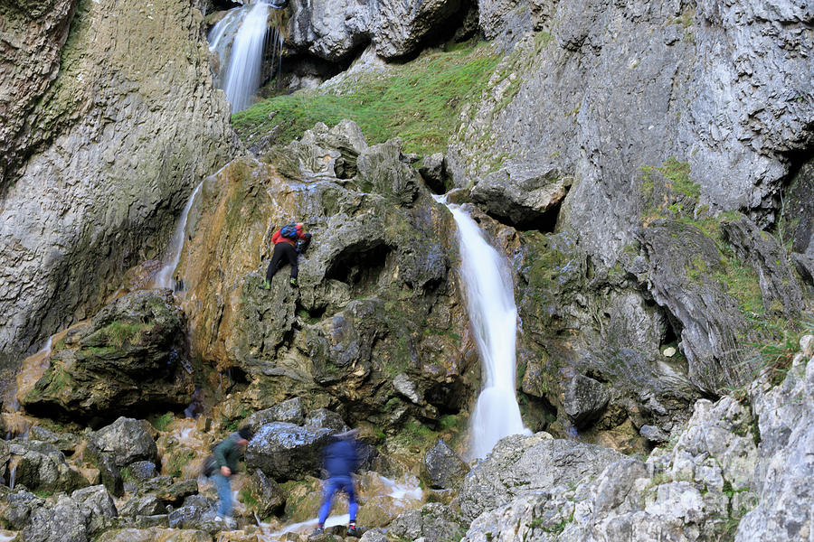 Gordale Scar Photograph - Climbers Making Their Way Up The Cliffs Of Gordale Scar by Louise Heusinkveld