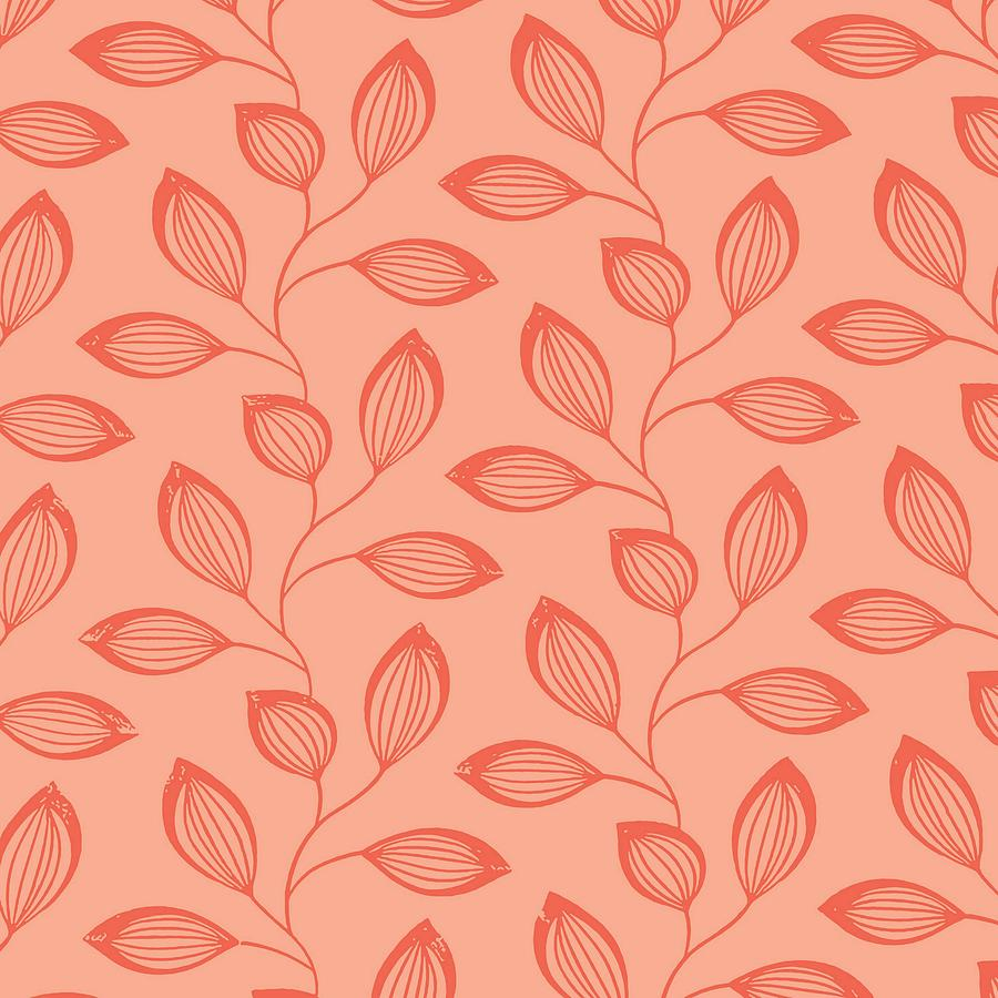Climbing Leaves In Two Tone Living Coral by Taiche Acrylic Art