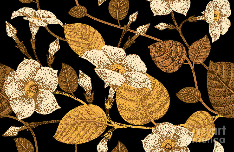 Japan Digital Art - Climbing Plant Ivy Seamless Floral by Mamita