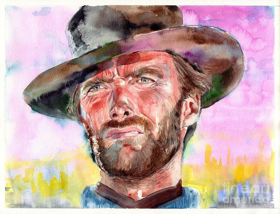 Clint Painting - Clint Eastwood Portrait by Suzann Sines