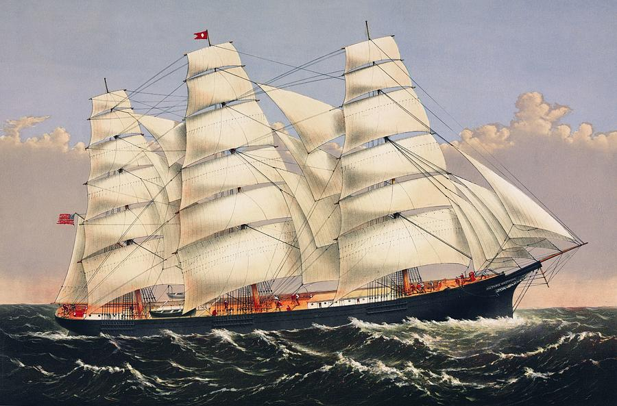 Clipper Painting - Clipper Ship Three Brothers, The Largest Sailing Ship In The World Published By Currier And Ives by Celestial Images