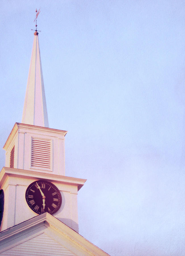 Blue Photograph - Clock Steeple by JAMART Photography