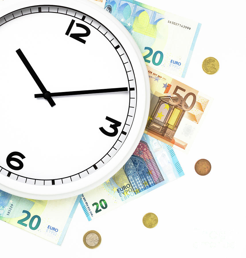 Clock Surrounded By Bills And Euro Coins by Kyna Studio