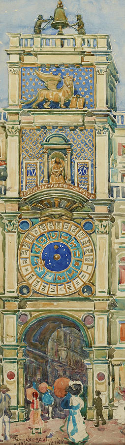 Usa Painting - Clock Tower, Saint Marks Square, Venice - Digital Remastered Edition by Maurice Brazil Prendergast