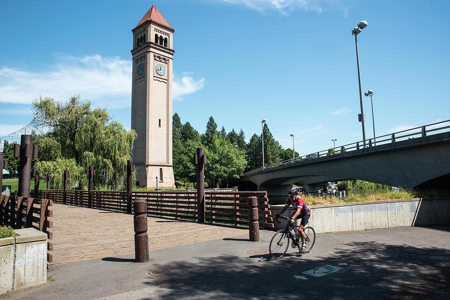 Clocktower Bridges and Cyclist by Tom Cochran