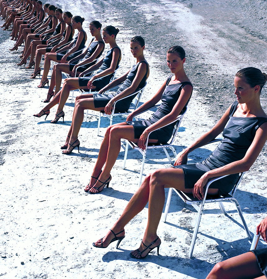 Cloned Woman Sitting In Row Digital Photograph by Martin Barraud