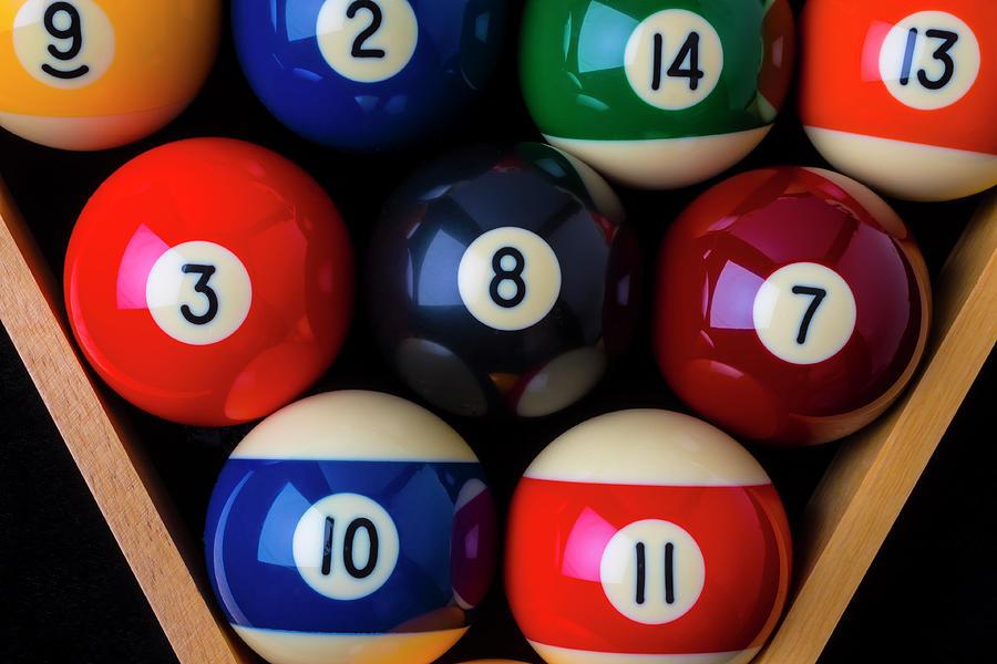 Pool Balls Photograph - Close Up Billiard Balls by Garry Gay