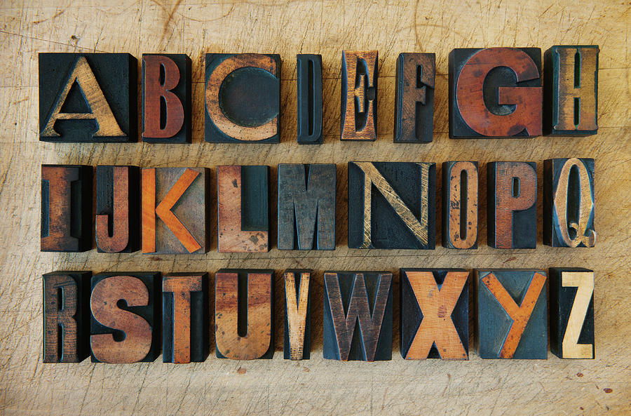 Close Up Of Alphabet On Letterpress Photograph by Tetra Images
