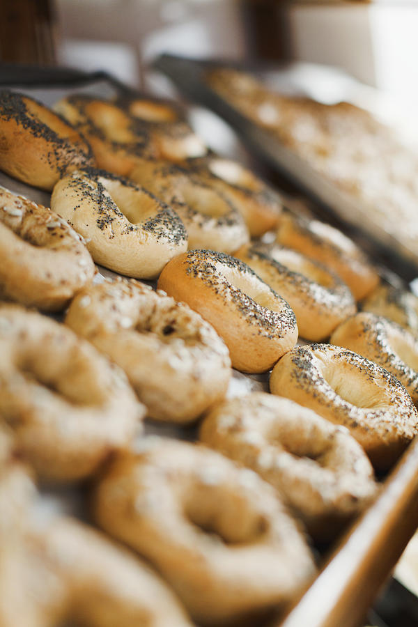Close Up Of Bagels In Bakery Photograph by Hybrid Images