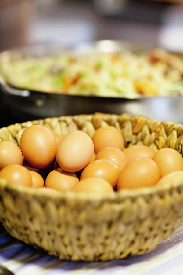 Close Up Of Basket Of Eggs Photograph by Hybrid Images