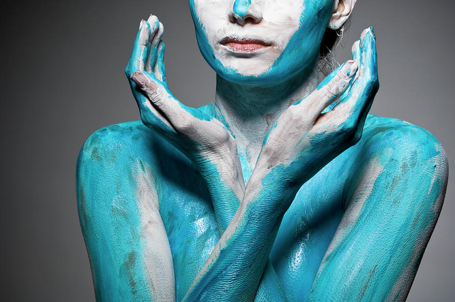 Close-up Of Body Painted Woman Photograph by Tomfullum