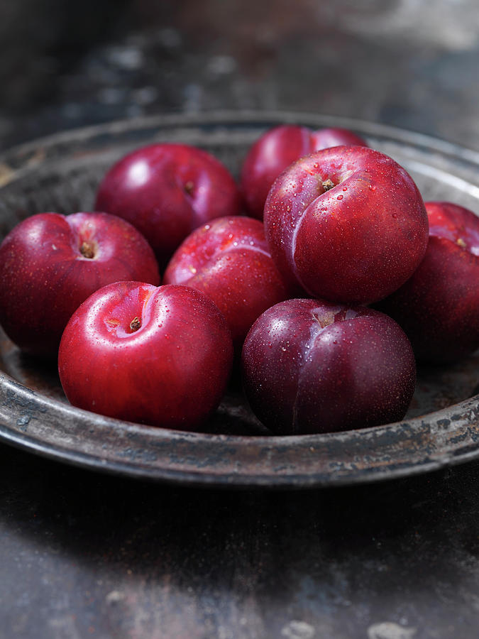Close Up Of Bowl Of Plums Photograph by Danielle Wood