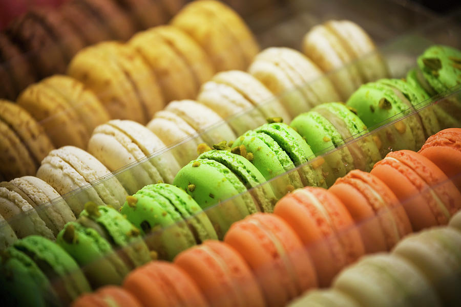 Close Up Of Coloured Macaroons In Store Photograph by Michael Interisano / Design Pics