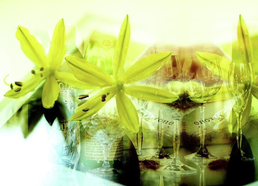 Close-up Of Flowers With Wineglasses In Photograph by Imagewerks