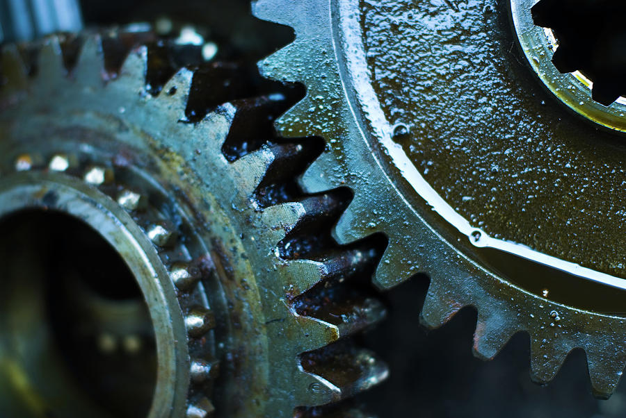 Close Up Of Greasy And Oily Gears Photograph by Sndrk