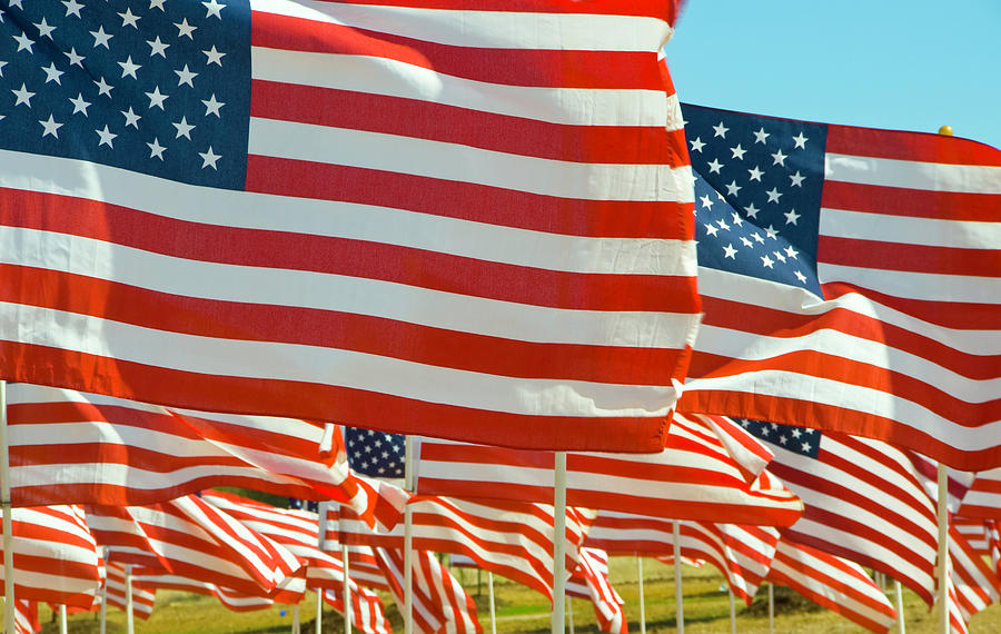Close-up Of Multiple U.s. Flags Photograph by Donovan Reese