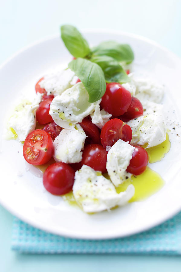Close Up Of Plate Of Tomatoes And Cheese Photograph by Brigitte Sporrer