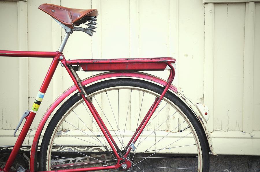 Close-up Of Red Bicycle Photograph by Carina Tjarnlund