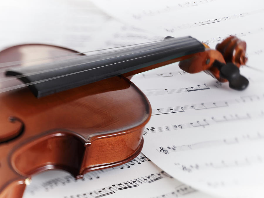 Close Up Of Violin And Sheet Music Photograph by Adam Gault