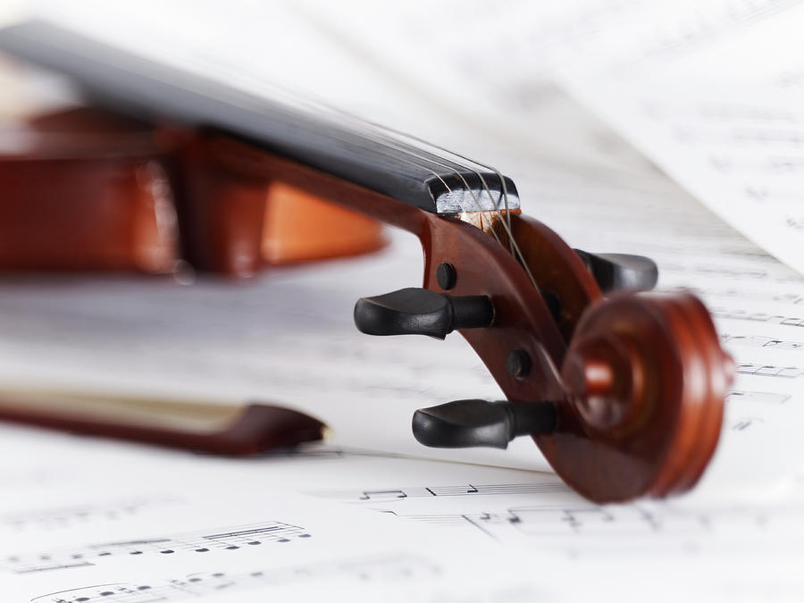 Close Up Of Violin, Bow And Sheet Music Photograph by Adam Gault