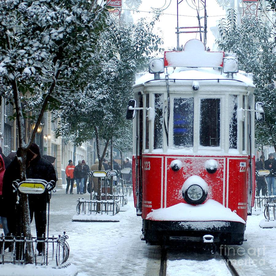 Taksim Photograph - Close Up Shot Of Tramway Covered With by Jokerpro