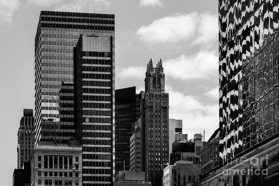 Close-up view of old and modern skyscrapers in Midtown Manhattan by Edi Chen