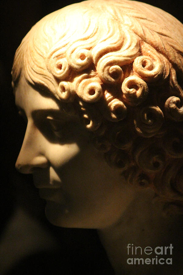 White Marble Photograph - Closeup of Marble Bust of Woman at Pompeii Exhibit  by Colleen Cornelius