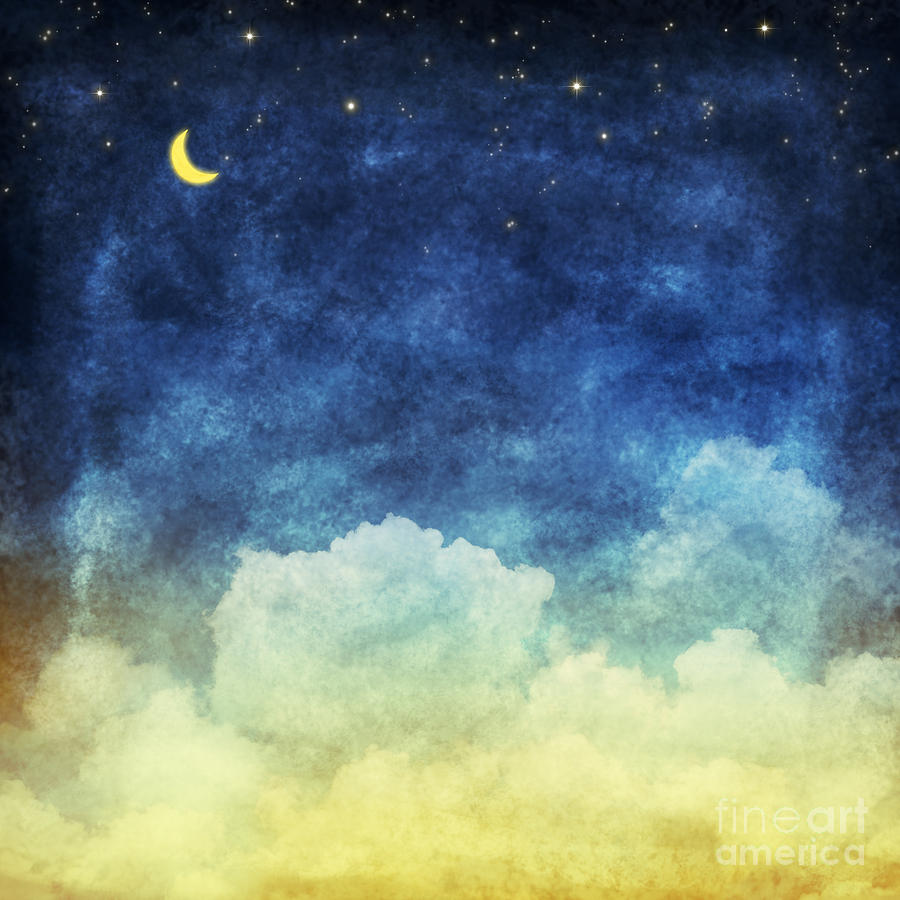 Craft Digital Art - Cloud And Sky At Night ,yellow And Blue by Mr.lightman1975