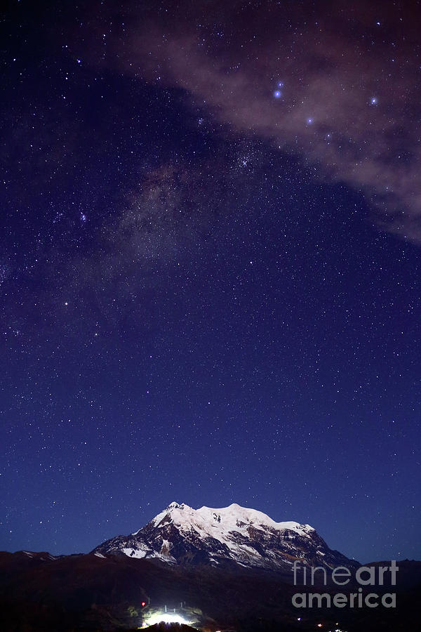 Cloud Over Mt Illimani By Moonlight Bolivia by James Brunker