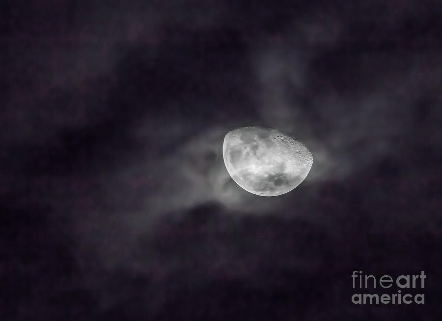 Clouds and Crescent Moon by Kevin McCarthy