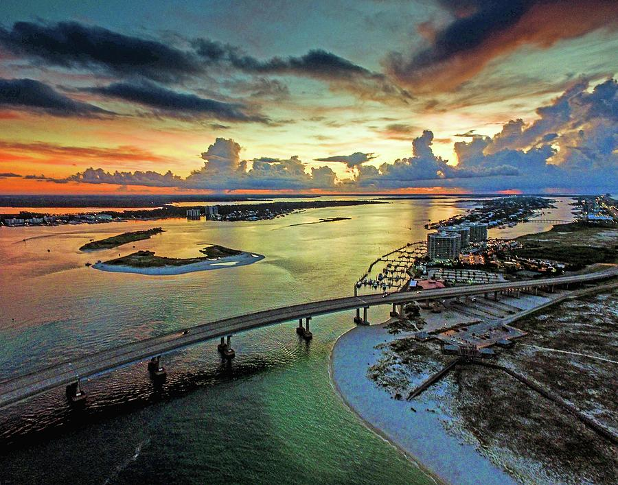 Clouds and Storms at Sunrise at Perdido Beach Pass by Michael Thomas