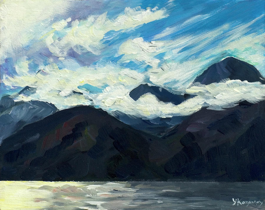 Mountains with stormy clouds by Yulia Kazansky