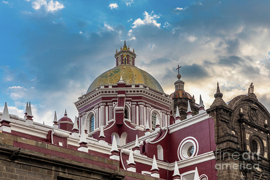 Catholic Photograph - Clouds Over Puebla Cathedral by Inge Johnsson