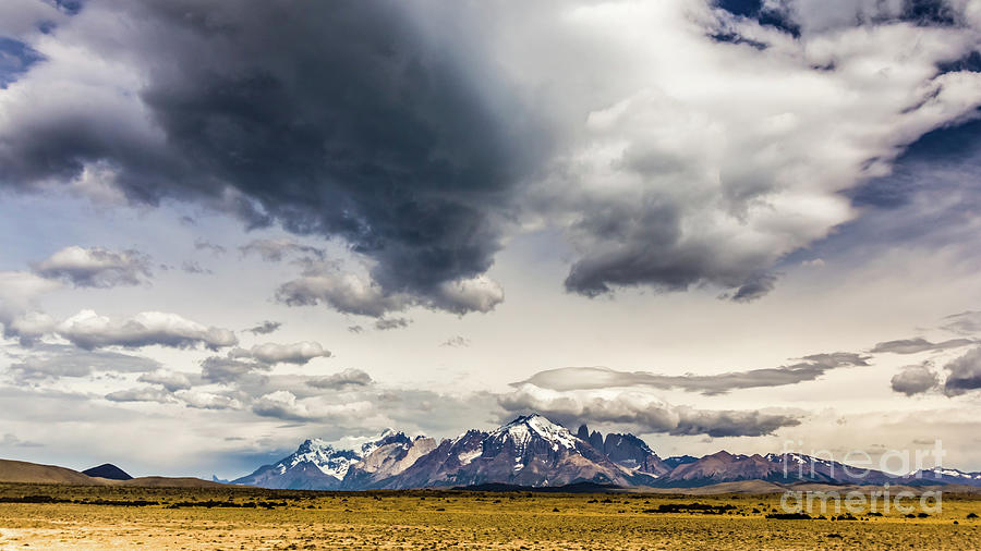 Clouds over Torres del Paine National Park, Chile by Lyl Dil Creations