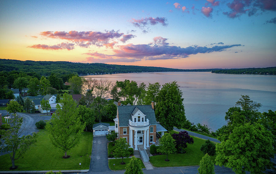 Clouds Pink Keuka Lake by Ants Drone Photography