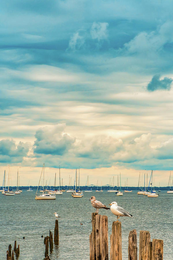 Cloudy Day At Keyport Harbor by Gary Slawsky