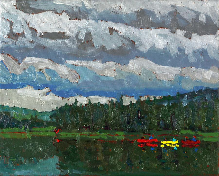 August Painting - Cloudy Dumoine Evening by Phil Chadwick