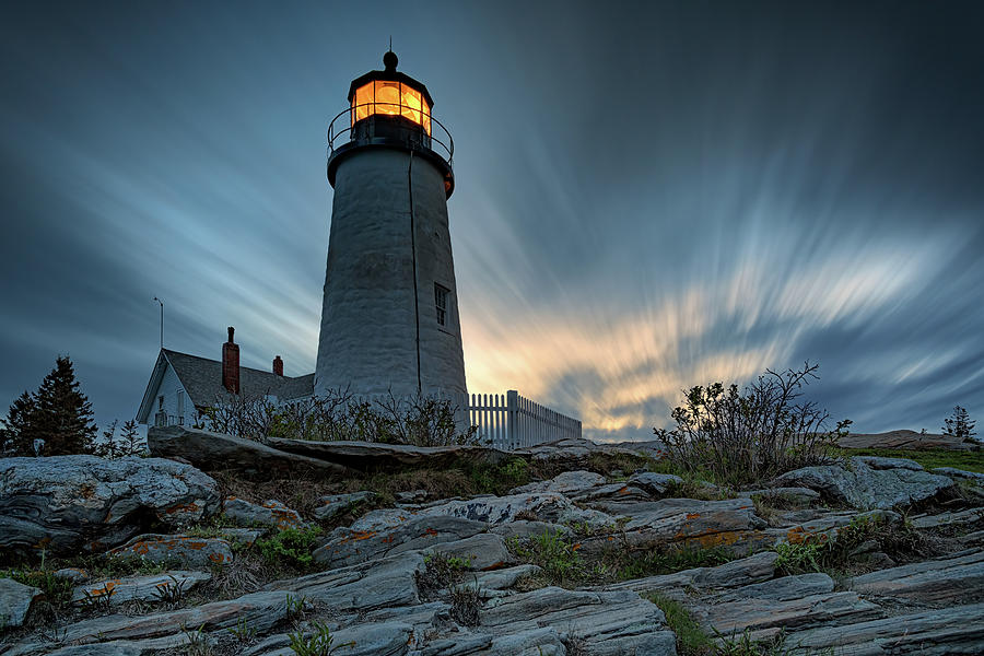 Cloudy Dusk at Pemaquid Point by Rick Berk