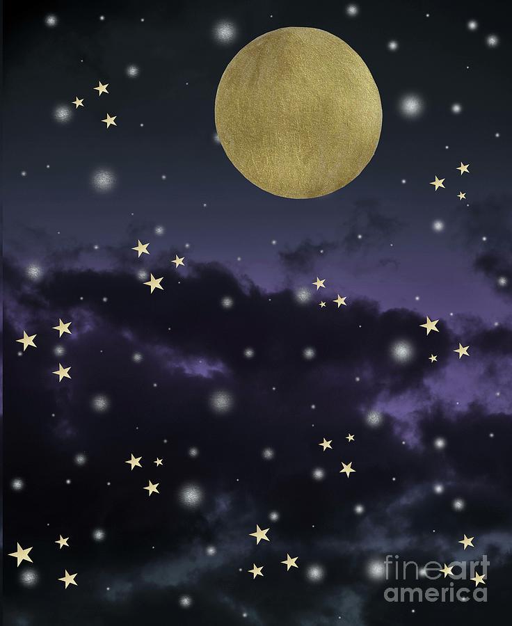 Cloudy Purple Midnight Blue Starry Night Sky #1 #decor #art by Anitas and  Bellas Art
