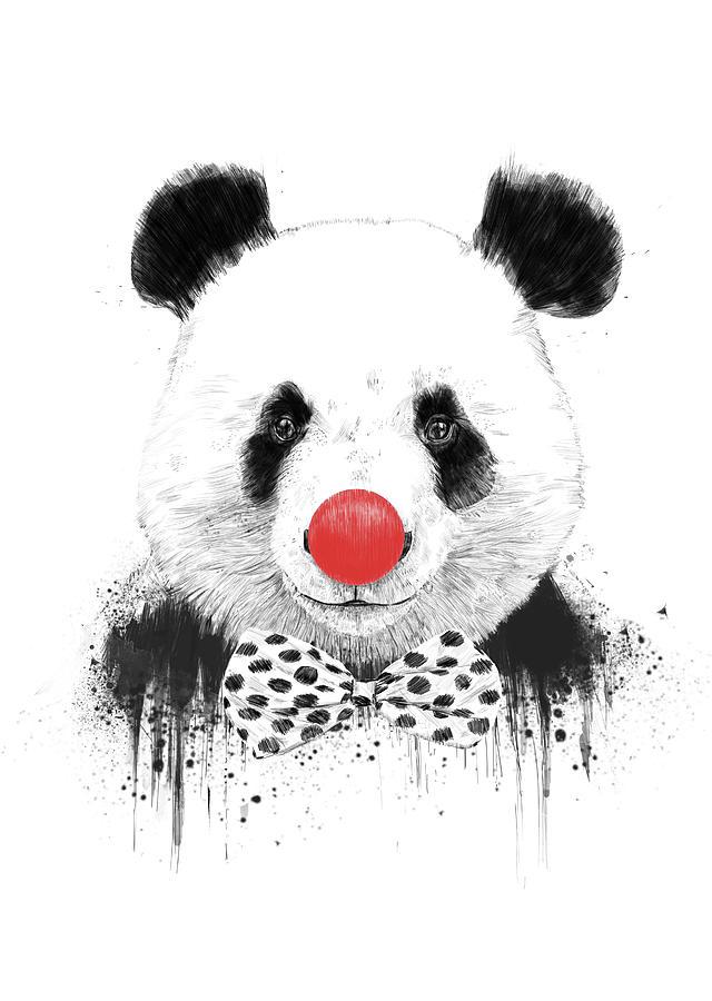 Panda Mixed Media - Clown Panda by Balazs Solti