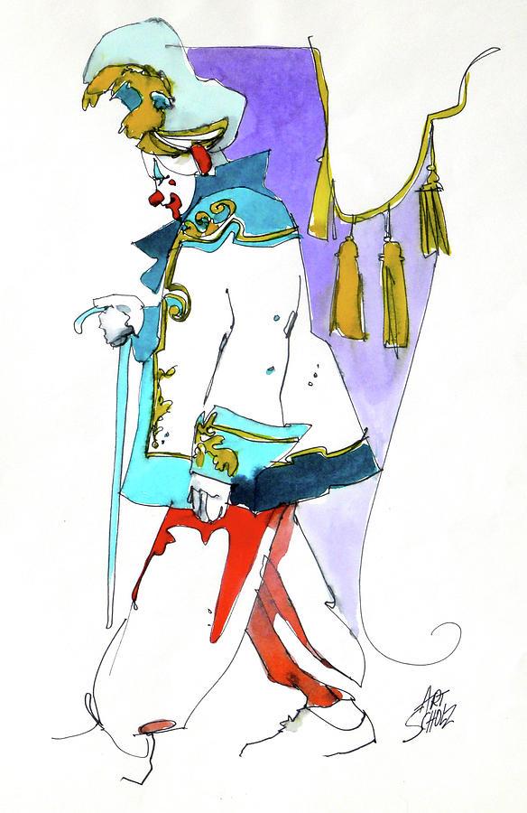 Clown Walk Painting by Art Scholz
