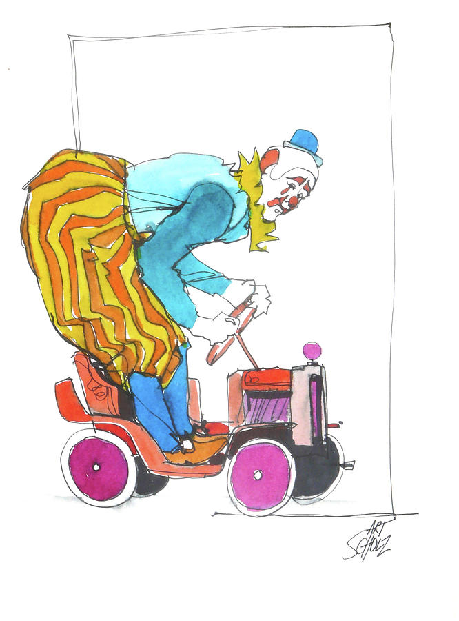 Clowns Car Painting by Art Scholz